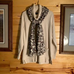 Oatmeal cowl neck sweater with floral scarf